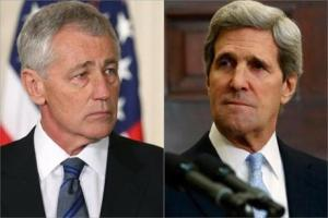 Chuck Hagel (a la izquierda), nominado a secretario de Defensa y John Kerry (a la izquieda), nominado a secretario de Estado.