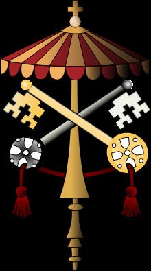 El escudo del Estado de la Ciudad del Vaticano durante la sede vacante.